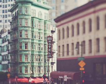 San Francisco photo, North Beach, Coppola Cafe Zoetrope Sentinel building, architecture, green, city urban decor, loft wall art, California