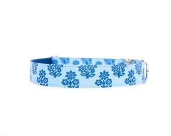Blue Block Print Dog Collar