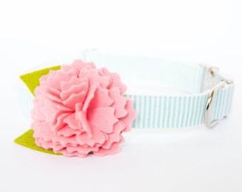 Seersucker Flower Dog Collar - Pink Carnation on Mint Seersucker