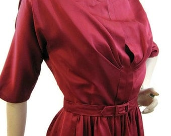 50s 60s Dress Vintage Cranberry Red Satin Party Dress S XS
