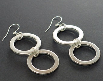Silver Circle Earrings- Upcycled Silver Washer Earrings, Geometric Earrings, Hardware Jewelry, Hardware Earrings by Tanith Rohe