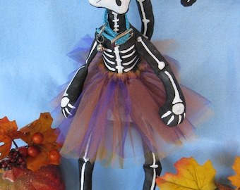 Cloth Doll E-Pattern  16in Skeleton Cat Doll epattern