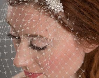Ivory French Net Mini Bridal Birdcage Veil, Bridal Rhinestone Comb, Wedding Birdcage Veil and Fascinator