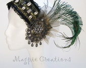 Jeweled Goth/Flapper Headdress, Green/Silver