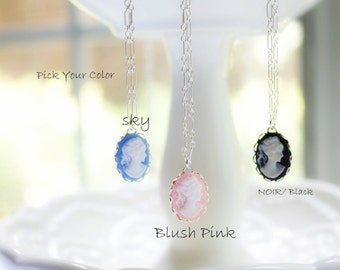 Cameo Pendant- Specialty Priced -Sterling Silver Necklace - PICK YOUR COLOR
