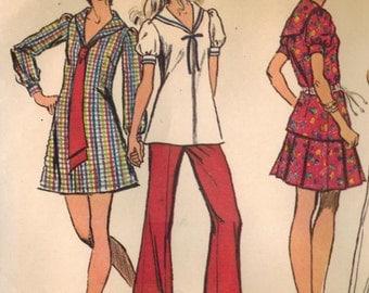 1970s Simplicity 9833 Vintage Sewing Pattern Misses Mini Dress, Tunic, Mini-Skirt, Bell Bottom Pants Size 10 Bust 32-1/2