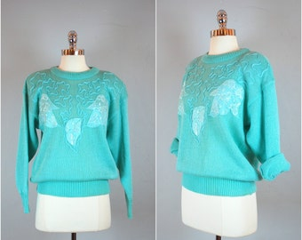 Vintage 80's SEA GREEN SWEATER / Women's embellished sweater