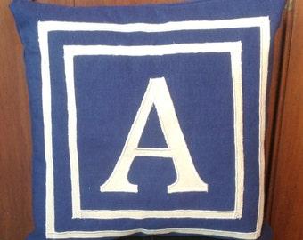 30% OFF 26x26 Euro Sham Covers, 26x26 Pillows, 65cmx65cm Large Customized Monogram throw pillow-Navy Euro Shams