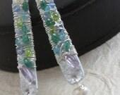 No Tarnish Aluminum Pearls Peridot Green Calcite Aquamarine and Amethyst Earrings