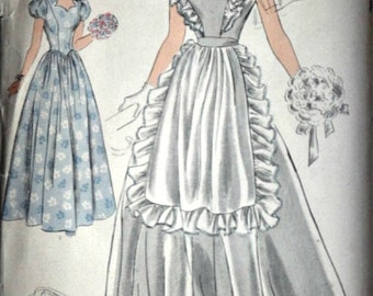 Vintage 40's Hollywood 1349 Sewing Pattern, Evening Dress And Apron, Size 16, 34 Bust