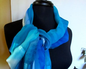 Peaceful Blue Hand Painted Silk Shawl