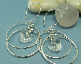 ECLIPSE EARRINGS, sterling silver double circle hoop earrings with crystal hearts