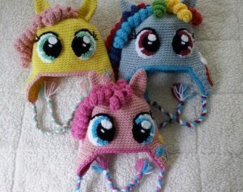 Crochet My Little Pony Pinkie Pie Rainbow Dash Shutterfly Twilight Sparkle Brony Cutie Mark Earflap Hat - Toddler, Child, Teen or Adult
