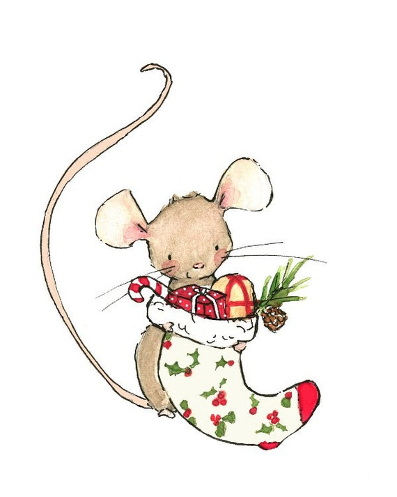 Holiday Decor MERRY MOUSE Art Print by trafalgarssquare on ...