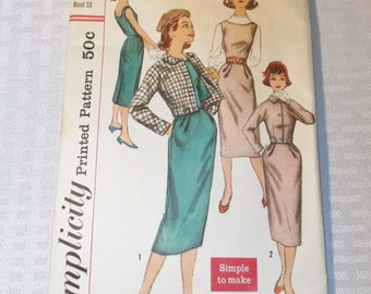 1950's Vintage Teen Age Wiggle Dress, Jacket and Jumper Pattern Simplicity 2199 32 Inch Bust 1957