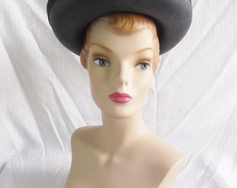 Clearance 60's 70's Vintage Navy Blue Straw Breton Hat by Betmar