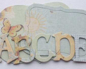 "165 Pc. SUN KISS - Chipboard Alphabet Letters & Beautiful Embellishments Kit  -  1.5"" inch Letters"