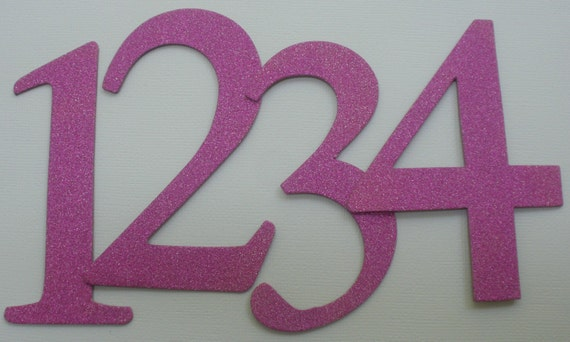 "4"" Wedding Table Numbers - GLiTTER Top Coat CHiPBOARD - Elegant Font - Color Choice: ORCHID Shown"