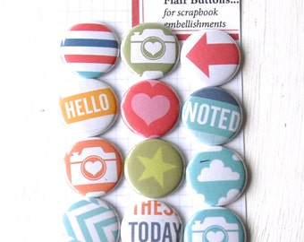 HONEY Project Life Flair Buttons or Badges - Honey Edition - Set of 12 flat back flair