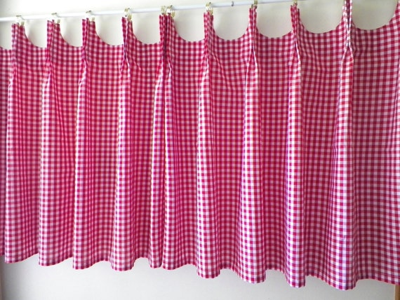 scalloped cafe curtains red gingham