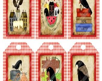 Primitive Tags Crows Digital Collage Sheet Printables Image 1196