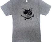 Pirate CAT Mens T-Shirt - Crossbones Kitty - Sizes S, M, L, XL