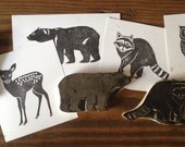 Woodland Animals Set Hand Carved Stamp