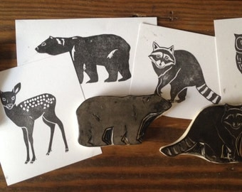 Woodland Animals Set Hand Carved Stamp
