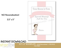 Baby Shower Printable Bookplate   Vintage Baby Girl    Book Request Baby Book Plate   Pink Grey   Instant Download   4 per Page