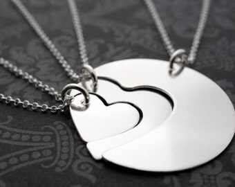 Grandmother, Daughter, Granddaughter Necklace Set - Hand Cut Hearts Design in Sterling Silver by EWD - Three Generation Necklace Set