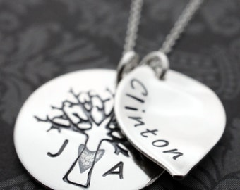 Family Tree Necklace with Large Leaf - Personalized Necklace - Tree of Life w/ Initials and Child's Name - Sterling Silver Jewelry by EWD