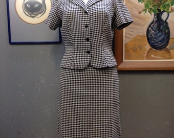 50's navy and white gingham summer suit.