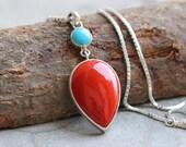 Artisan Coral turquoise pendant - Drop pendant - Bezel set pendant - Gemstone pendant - Gift for her