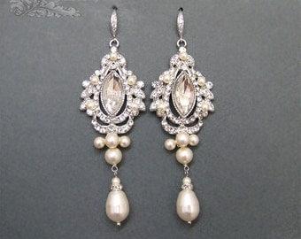 Bridal Chandelier Earrings, WEdding Earrings, Rhinestone Earrings,White Ivory Pearl Vintage Style Art Deco Style Earrings,  Bridal jewelry