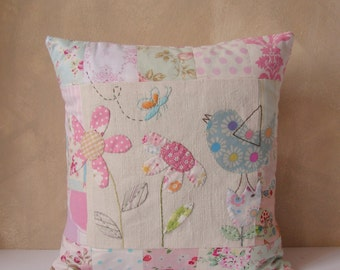 MADE TO ORDER  Cushion slip patchwork bird butterfly and flowers