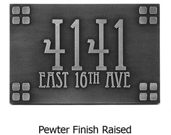 Mission Bungalow Frank Style Address Sign 16 x 10.5 inches Eccentric Font custom for you USA made