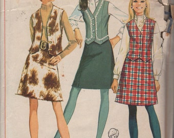 1960s Simplicity 7808 Misses Mod Blouse A Line Skirt and Vest Pattern Womens Vintage Sewing Pattern Size 12 Bust 34