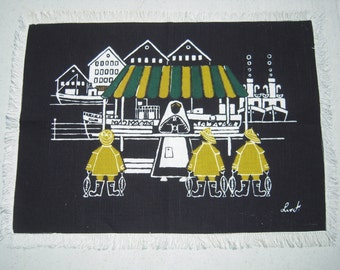 Vintage Liv Hassel Textile Mid Century Fishermen at the Market
