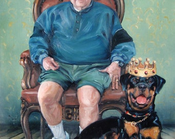RoyalRottie, custom oil portrait painting by puci, 12x16""