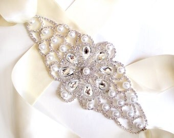 SALE! Extra Wide Pearl and Rhinestone Wedding Dress Sash - Silver Rhinestone Encrusted Bridal Belt Sash - Crystal Extra Wide Wedding Belt