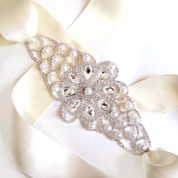 sale wide pearl and rhinestone wedding dress sash