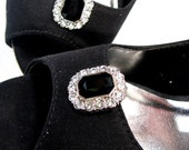 Black Shoe Clips with White Rhinestones 1 Pair Jewels for your Shoes