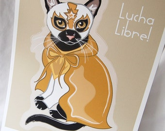 Black Cat Luchador in Gold - Eco-Friendly 8x10 Print