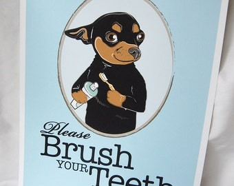 Brush Your Teeth Chihuahua - 8x10 Eco-friendly Print