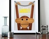 Retro poster Danish Kay Bojesen monkey print Mid century modern quote kitchen art retro nursery art  - Let's Monkey Around Grey yellow A3