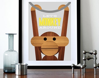 Retro poster Danish Kay Bojesen monkey print Mid century modern quote kitchen art retro nursery art  - Let's Monkey Around Grey yellow A3