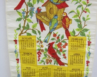 Vintage Wall Calendar Bright Colorful Birds Linen Tea Towel 1984 Birthday