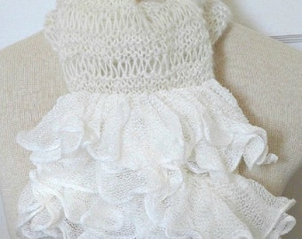 SALE 50 off Lacy Knitted Scarf / Dainty Ruffle / Handmade Lacy Victorian scarf / Scarf vintage style
