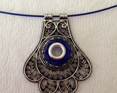 Antique Silver Filigree Pendant with Sapphire Blue Silver Lined Focal Bead Necklace 1647