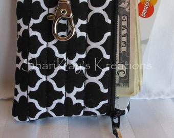 CLEARANCE - Fabric Business Card Holder - Ipod Case - Cash & Coin Case - Credit Card Case With Swivel Clasp